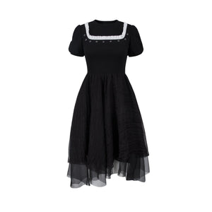 VIAS HERLIAN Black Stud Flower Dress | MADA IN CHINA