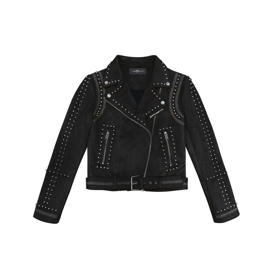 AIMME SPARROW Black Studded Suede Jacket | MADA IN CHINA