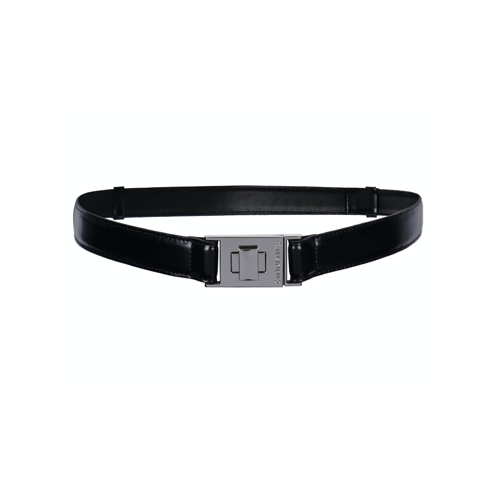 CALVIN LUO Black Twist-Lock Leather Belt | MADA IN CHINA