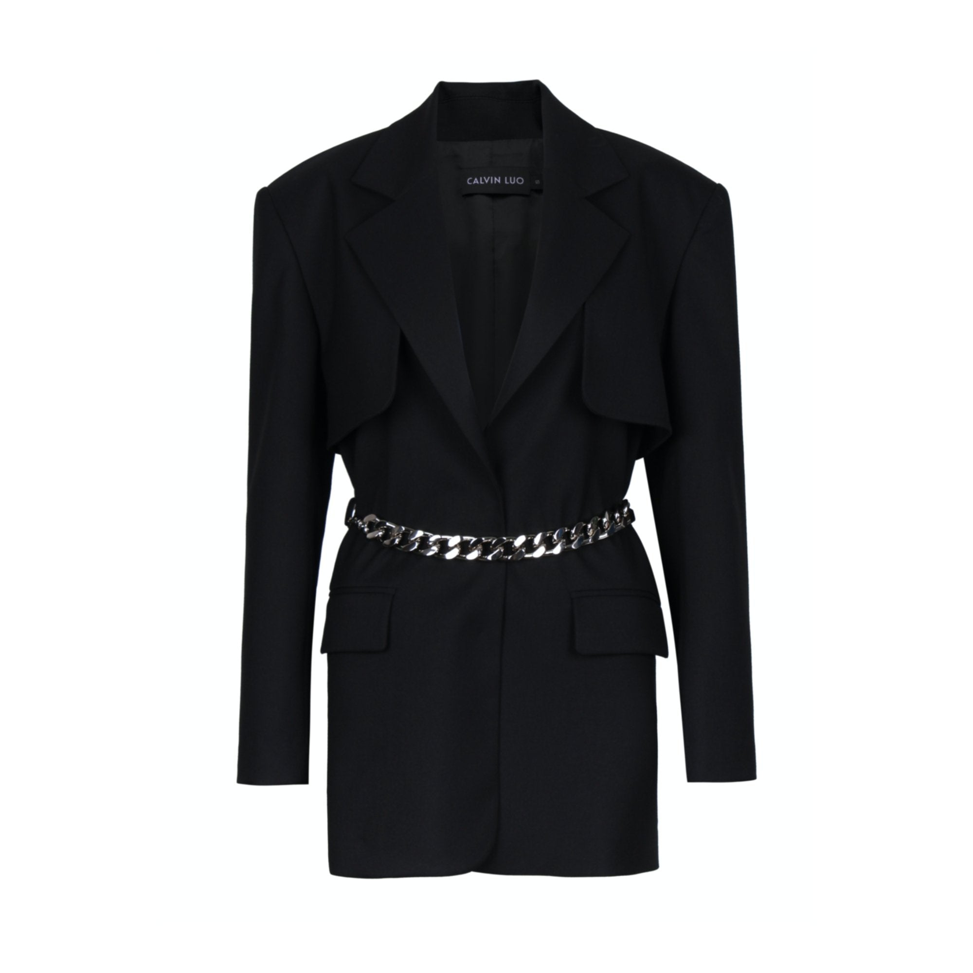 CALVIN LUO Black Waist Chain Blazer Jacket | MADA IN CHINA