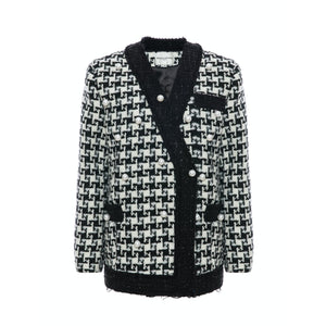 DIANA VEVINA Black White Colorblocked Pearl Jacket | MADA IN CHINA