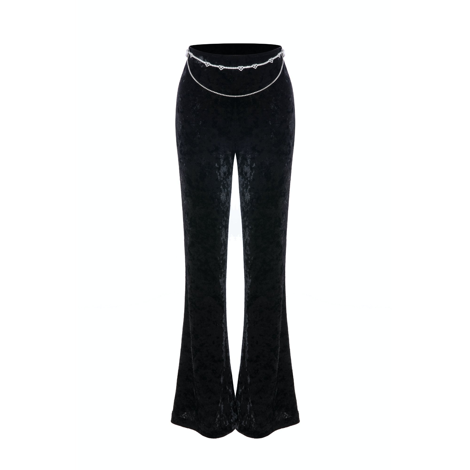 DIANA VEVINA Black Zirconia Velvet Pants | MADA IN CHINA