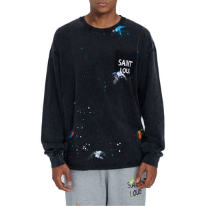 SAINT LOUIS Blk Painted Long Sleeve Tee | MADA IN CHINA