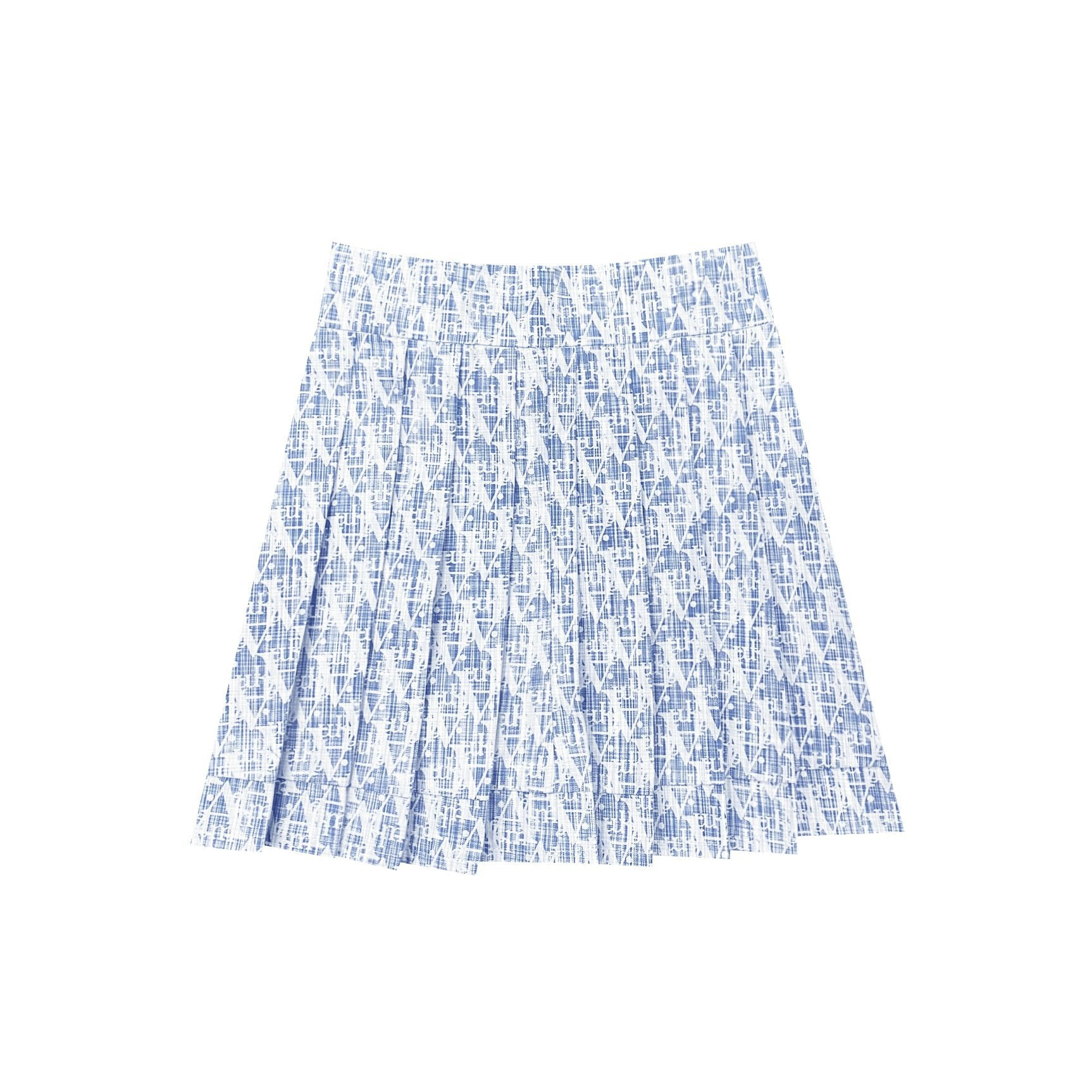 "AIMME SPARROW Blue Allover-""A"" Pleated Skirt 