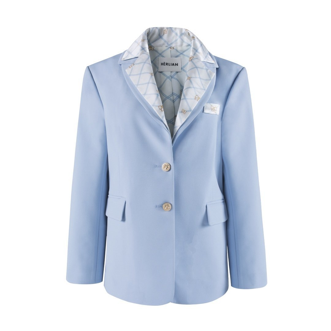 HERLIAN Blue 'Chain Up' Blazer Jacket | MADA IN CHINA
