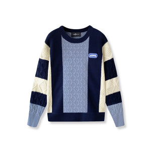 AIMME SPARROW Blue Colorblock Logo Sweatshirt | MADA IN CHINA