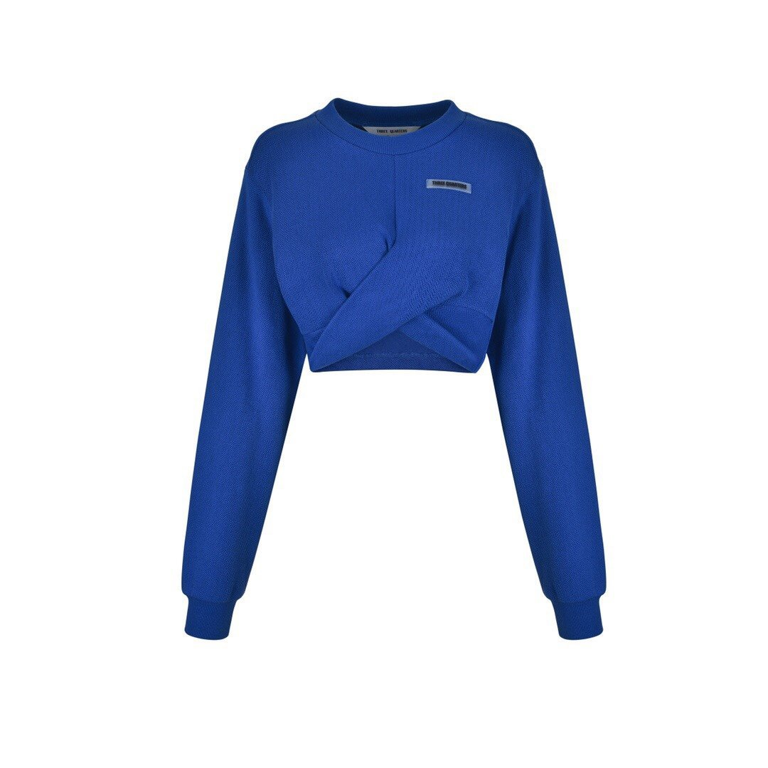 THREE QUARTERS Blue Cross Strap Sweater | MADA IN CHINA