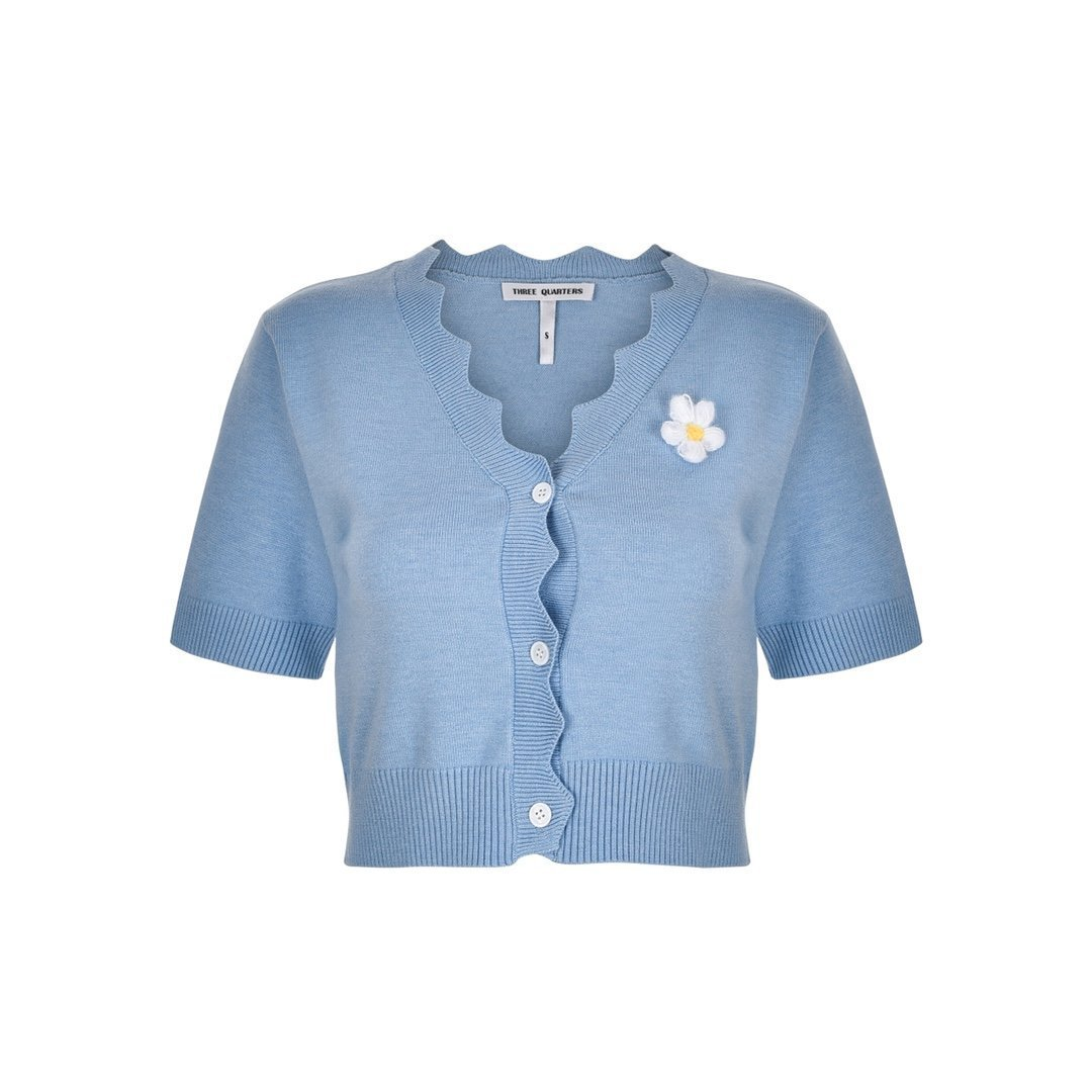 THREE QUARTERS Blue Daisy Knitted Top Set | MADA IN CHINA