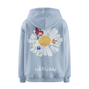 HERLIAN Blue Daisy Print Zipped Hoodie | MADA IN CHINA