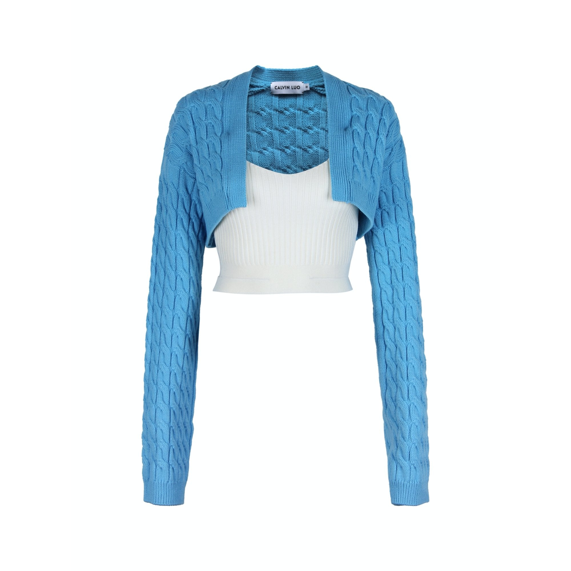 CALVIN LUO Blue Panelled Knitted Top | MADA IN CHINA
