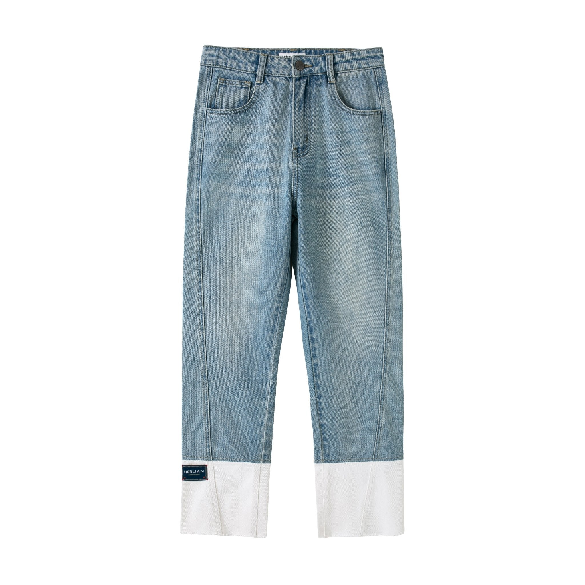 HERLIAN Blue Panelled Patch Jeans | MADA IN CHINA