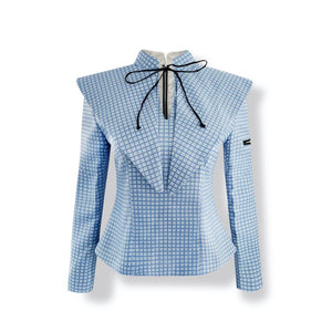 AIMME SPARROW Blue Ruffle Collar Jacket | MADA IN CHINA