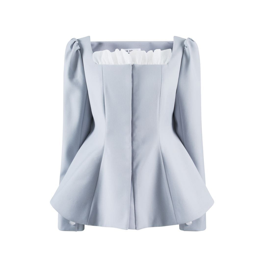 VIAS HERLIAN Blue Ruffled U-Neck Jacket | MADA IN CHINA