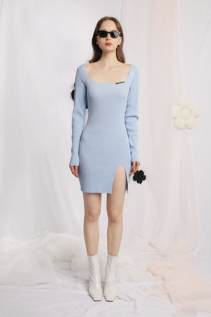 THREE QUARTERS Blue Square Neck Slit Dress | MADA IN CHINA