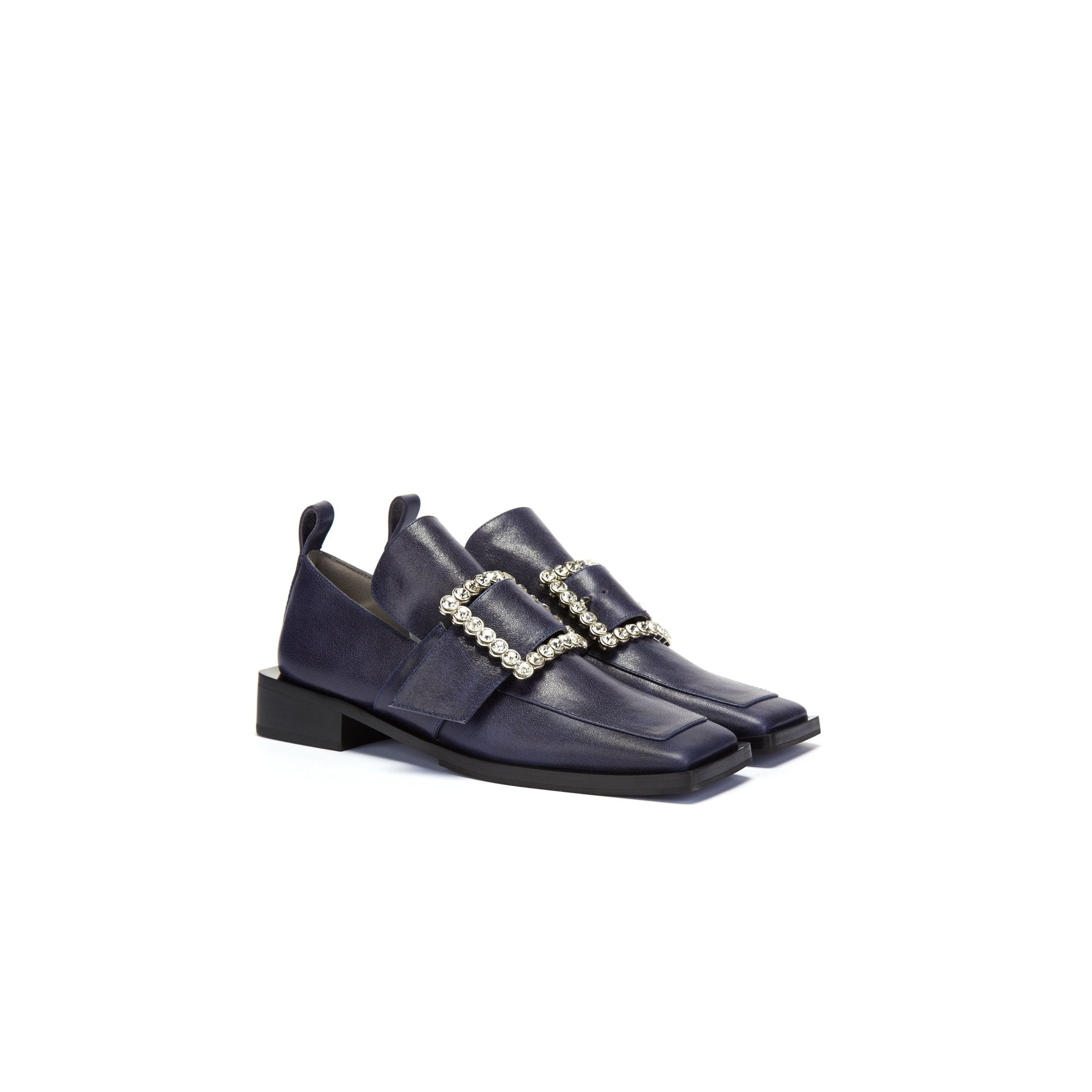 LOST IN ECHO Blue Square Toe Buckle Loafer | MADA IN CHINA