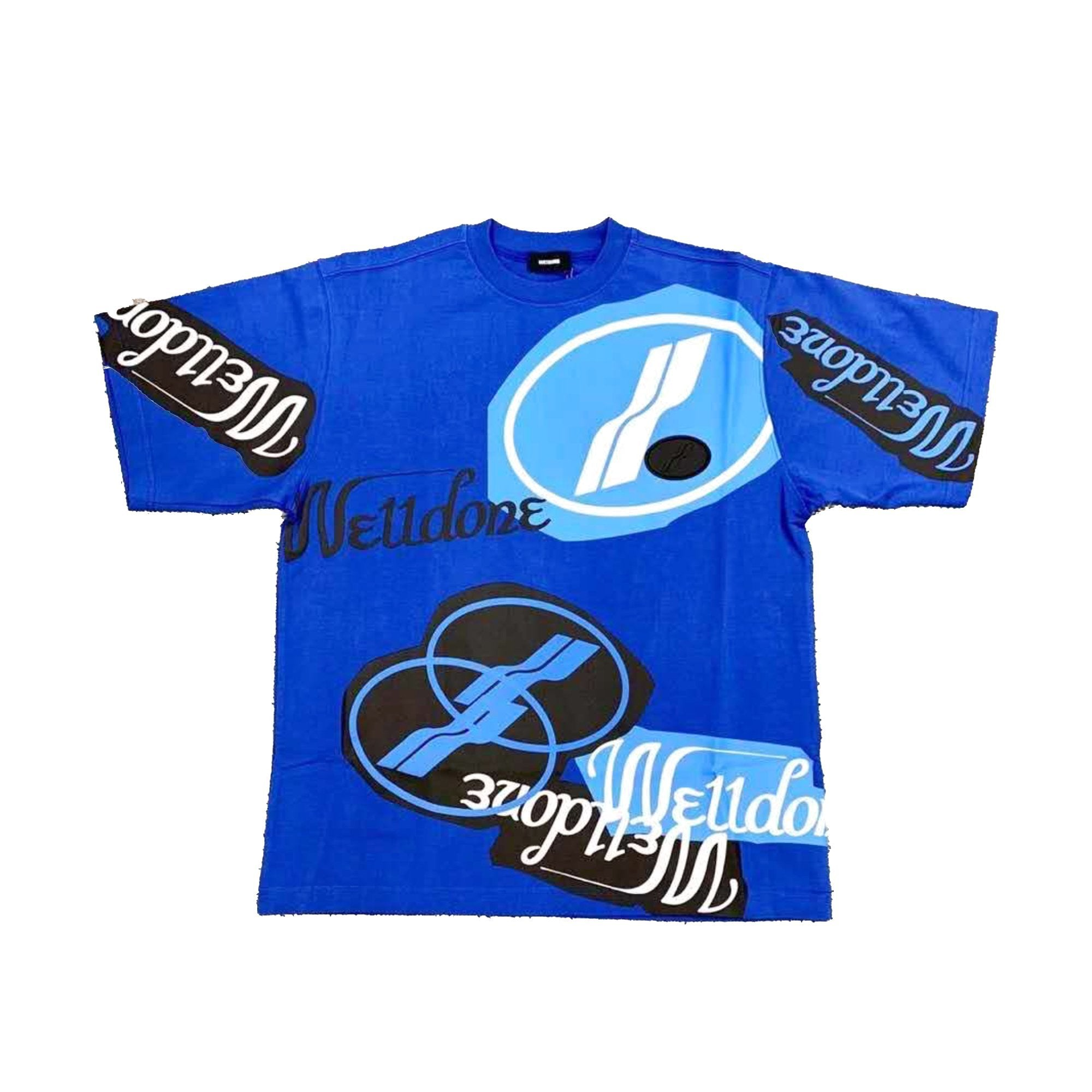 WE11DONE Blue Stacked Logo Tee | MADA IN CHINA