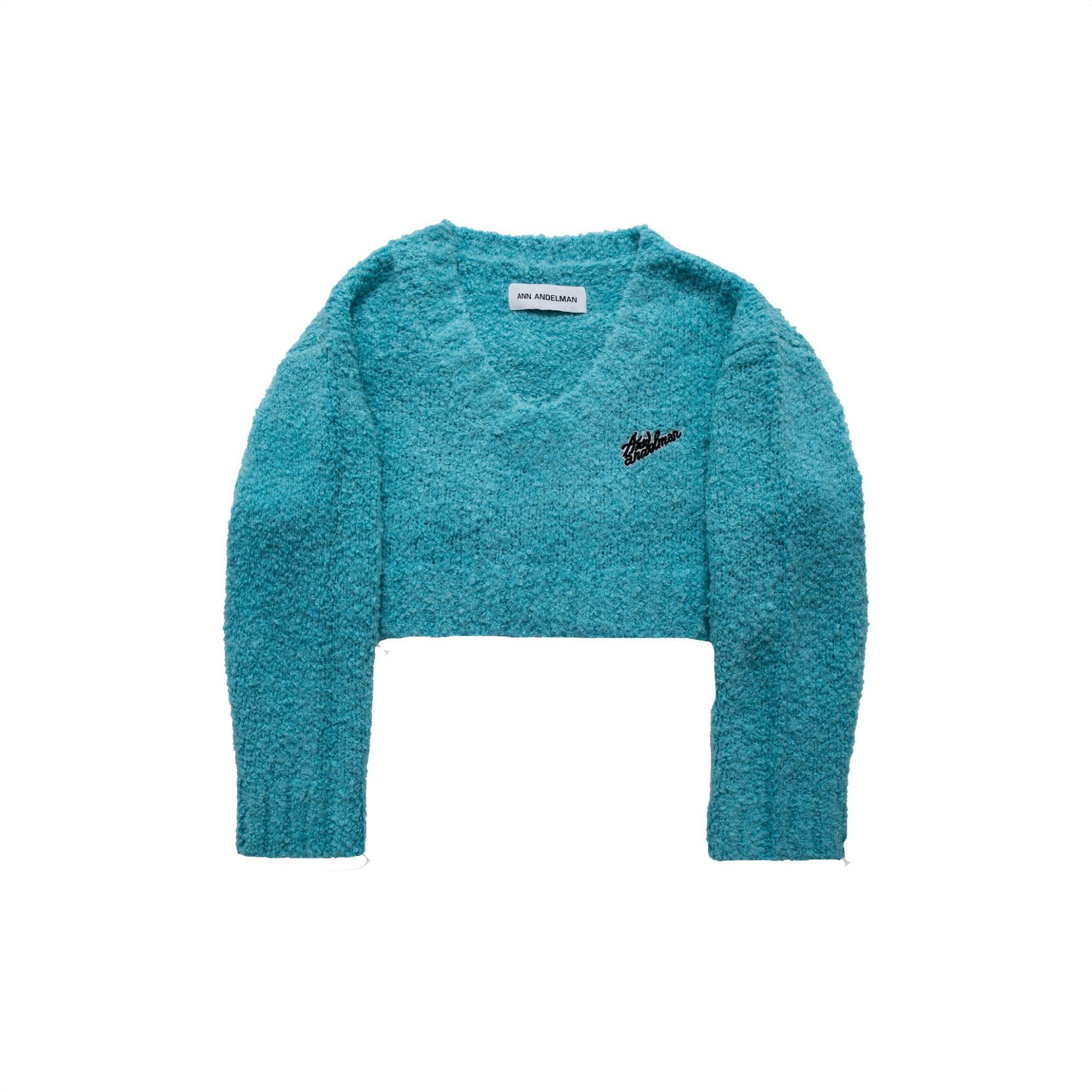 ANN ANDELMAN Blue V-Neck Sweatshirt | MADA IN CHINA