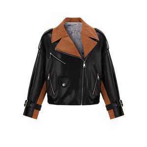 WARM AID Brown Collar Leather Jacket | MADA IN CHINA