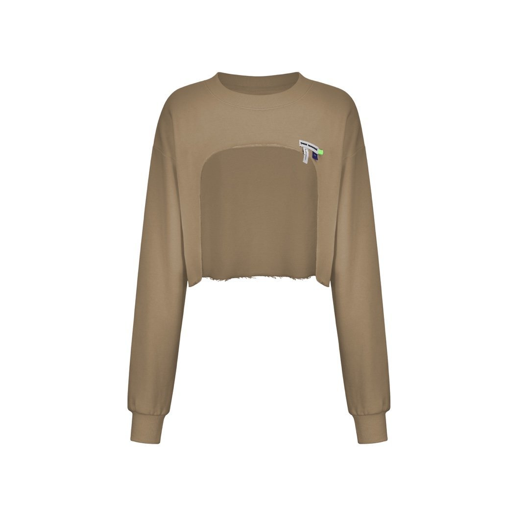 THREE QUARTERS Brown Cut-Out Sweater | MADA IN CHINA