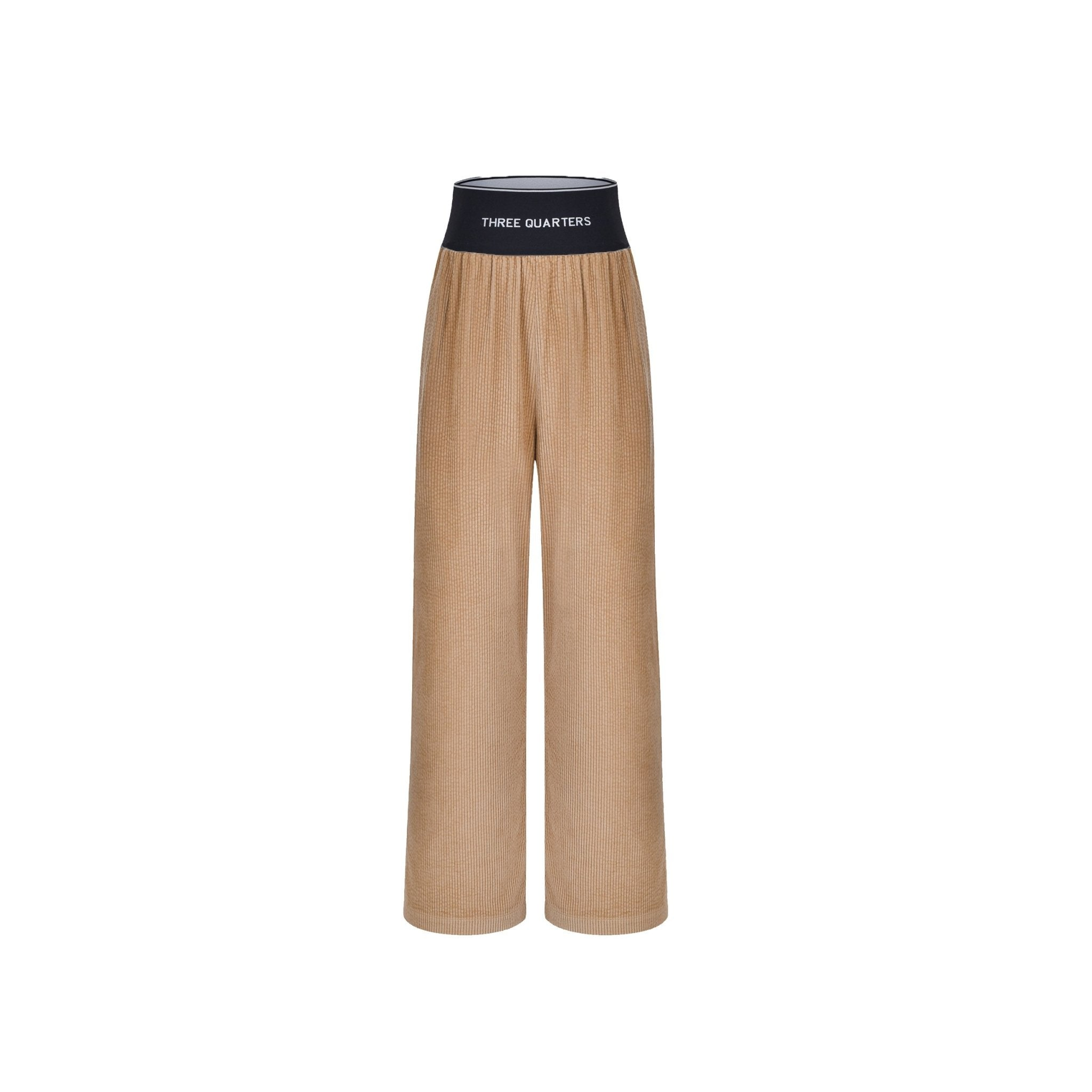 THREE QUARTERS Brown Logo Corduroy Pants | MADA IN CHINA