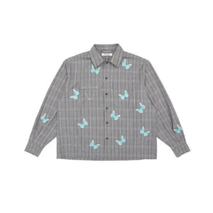 13 DE MARZO Butterfly Embroidered Plaid Shirt | MADA IN CHINA
