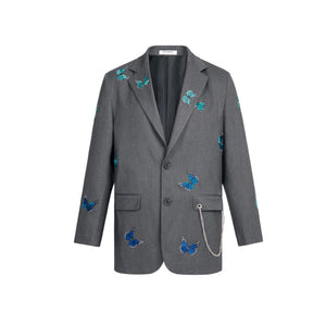 13 DE MARZO Butterfly Embroidered Suit Ultimate Gray | MADA IN CHINA