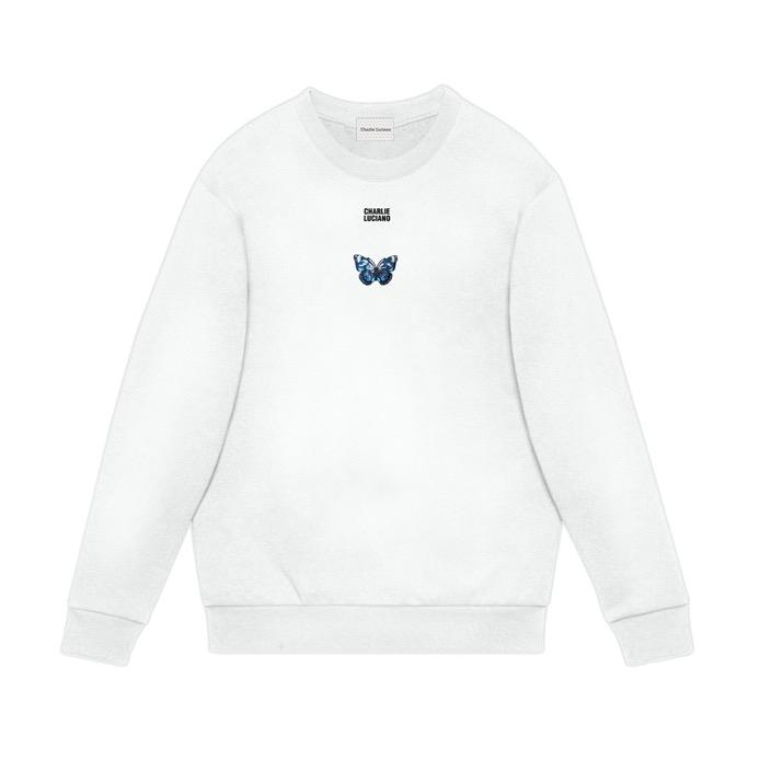 CHARLIE LUCIANO Butterfly Logo Sweater White | MADA IN CHINA