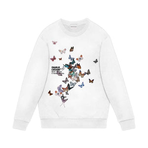 CHARLIE LUCIANO Butterfly Print Sweater White | MADA IN CHINA