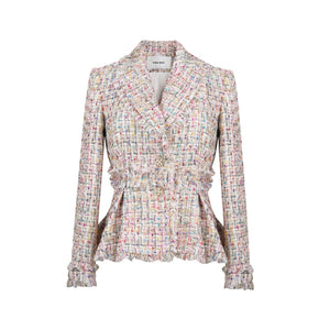 SASA MAX Candy Ruffled Tweed Blazer | MADA IN CHINA