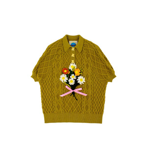 MOTOGUO Caramel Apolo Knitted Polo Shirt | MADA IN CHINA