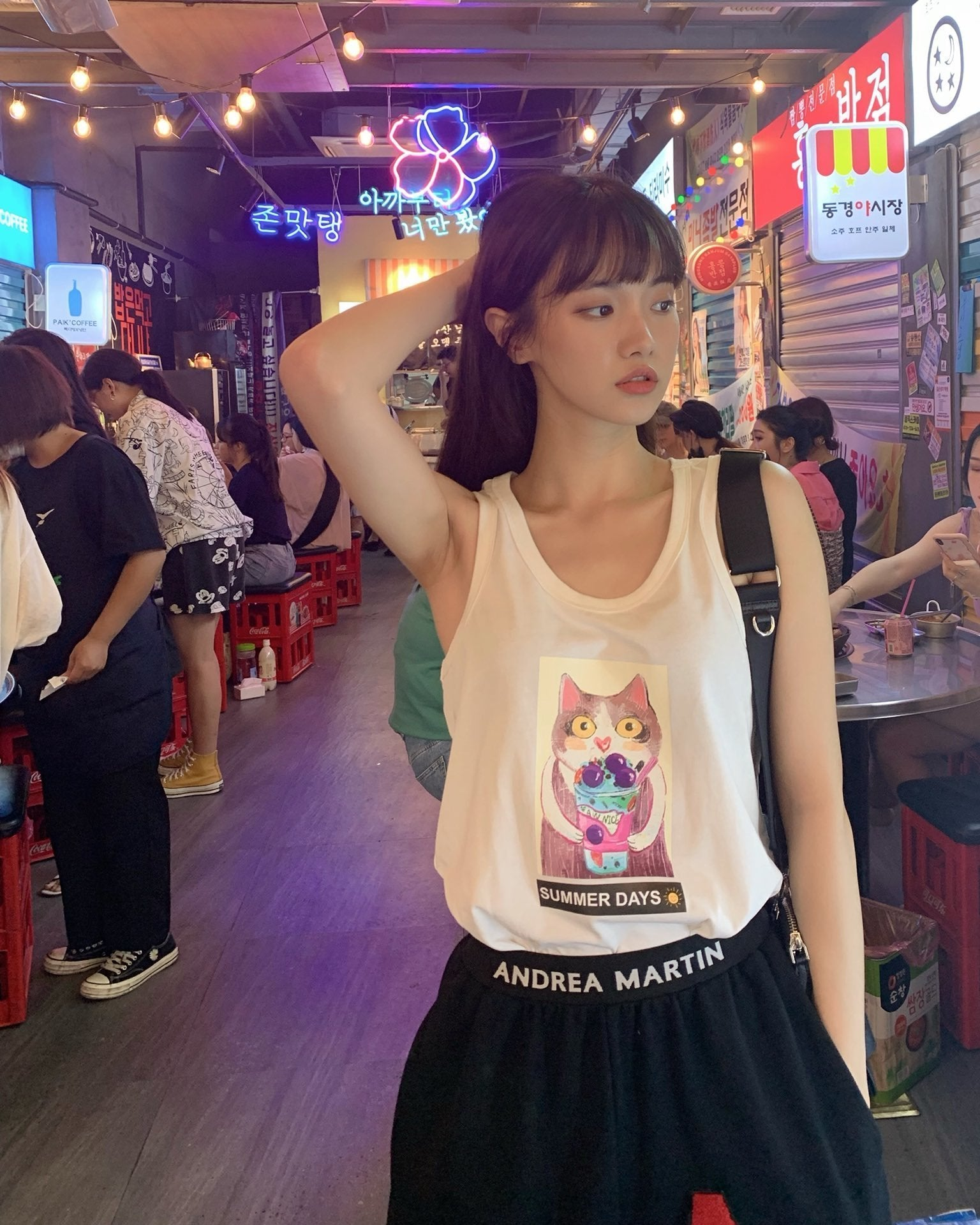 ANDREA MARTIN Cat Printed Tank Top White | MADA IN CHINA