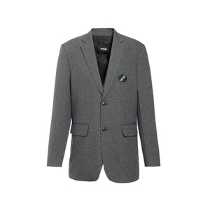 WE11DONE Charcoal Oversized Suit Logo Blazer | MADA IN CHINA