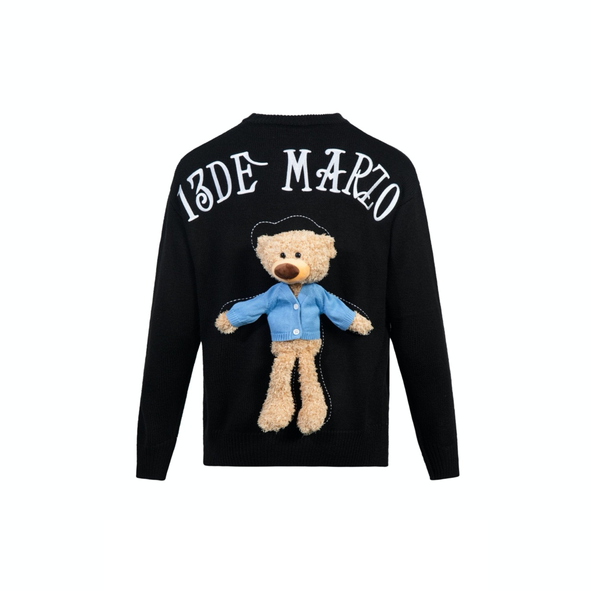13 DE MARZO Clothed Teddy Bear Sweater Black | MADA IN CHINA