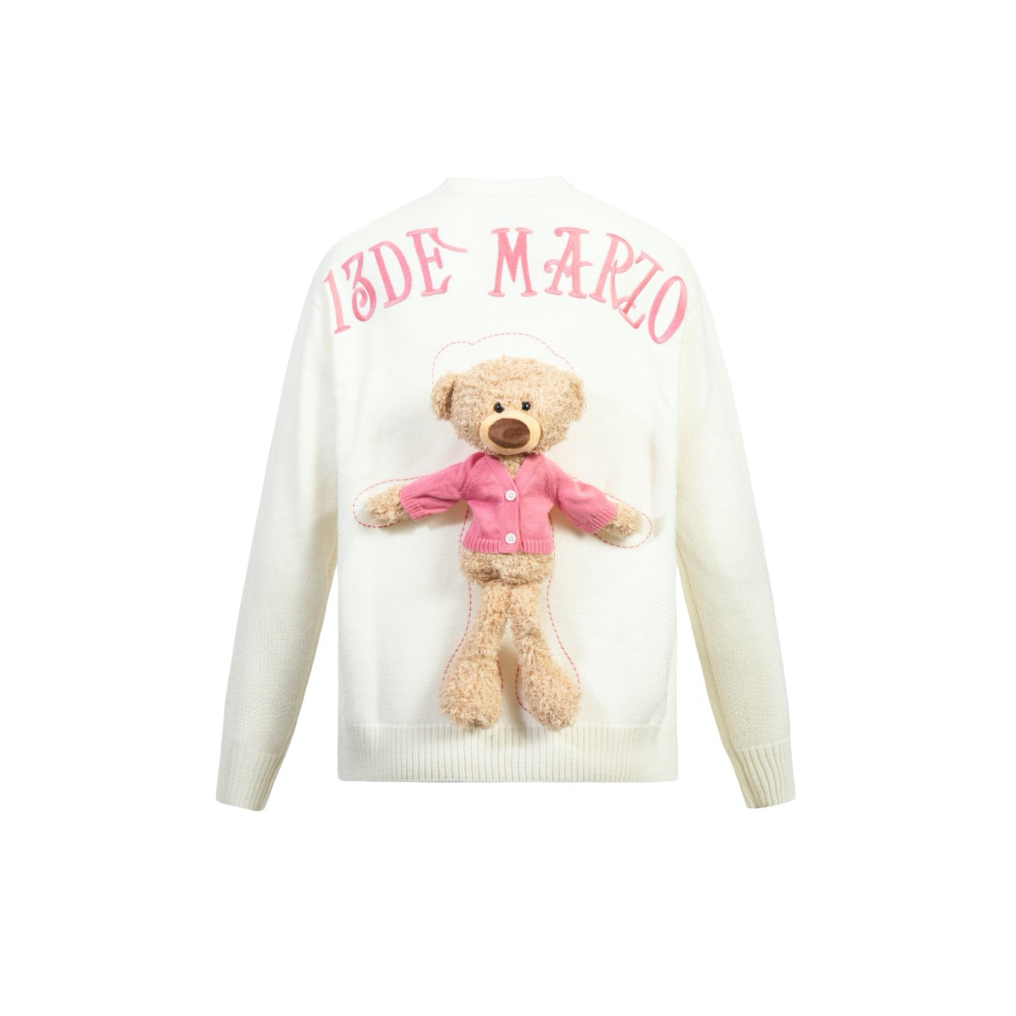 13 DE MARZO Clothed Teddy Bear Sweater White | MADA IN CHINA