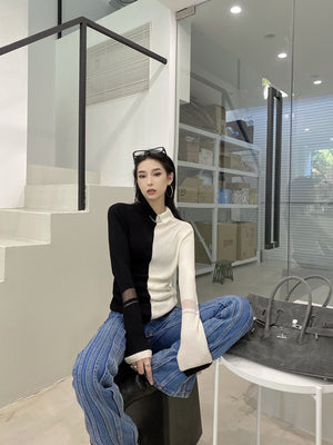 WARM AID Colorblock Asymmetric Long Sleeve | MADA IN CHINA
