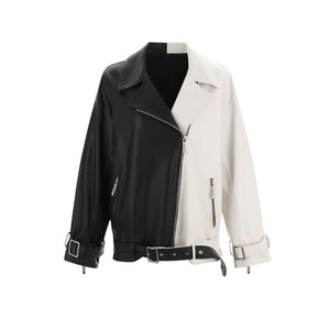 WARM AID Colorblock Leather Jacket | MADA IN CHINA