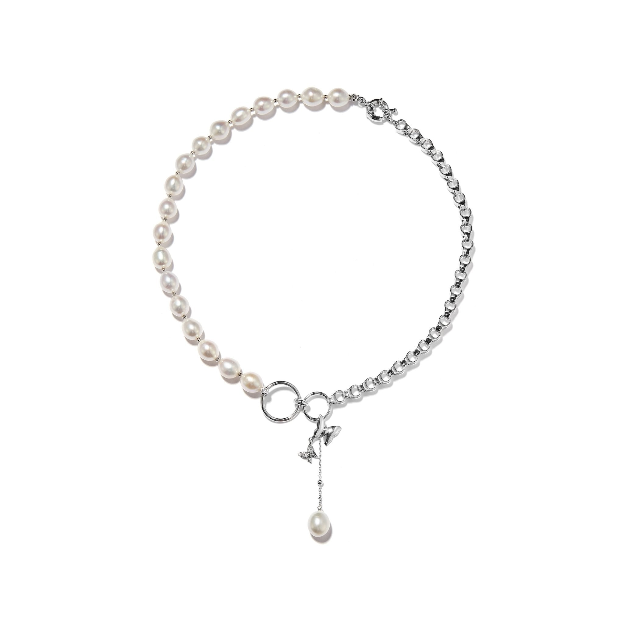 LOST IN ECHO Comma Pearl Necklace Silver | MADA IN CHINA