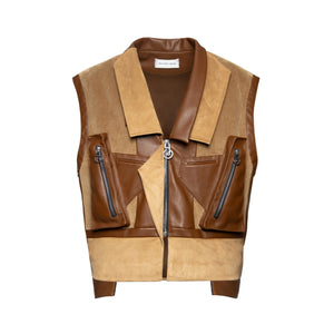 GALLIANO LANDOR Corduroy Deconstructed Patchwork Vest | MADA IN CHINA