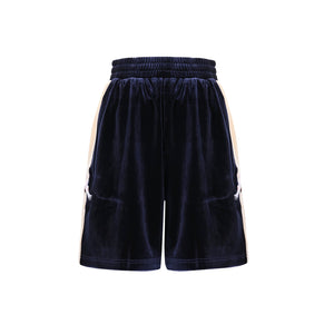 UMBERT MATTEO Crane Velvet Shorts Navy Blue | MADA IN CHINA