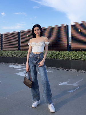 THREE QUARTERS Cut-Out Wide Leg Jeans | MADA IN CHINA