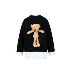 13 DE MARZO Daisy Teddy Bear Mock Two-Piece Sweater Black | MADA IN CHINA