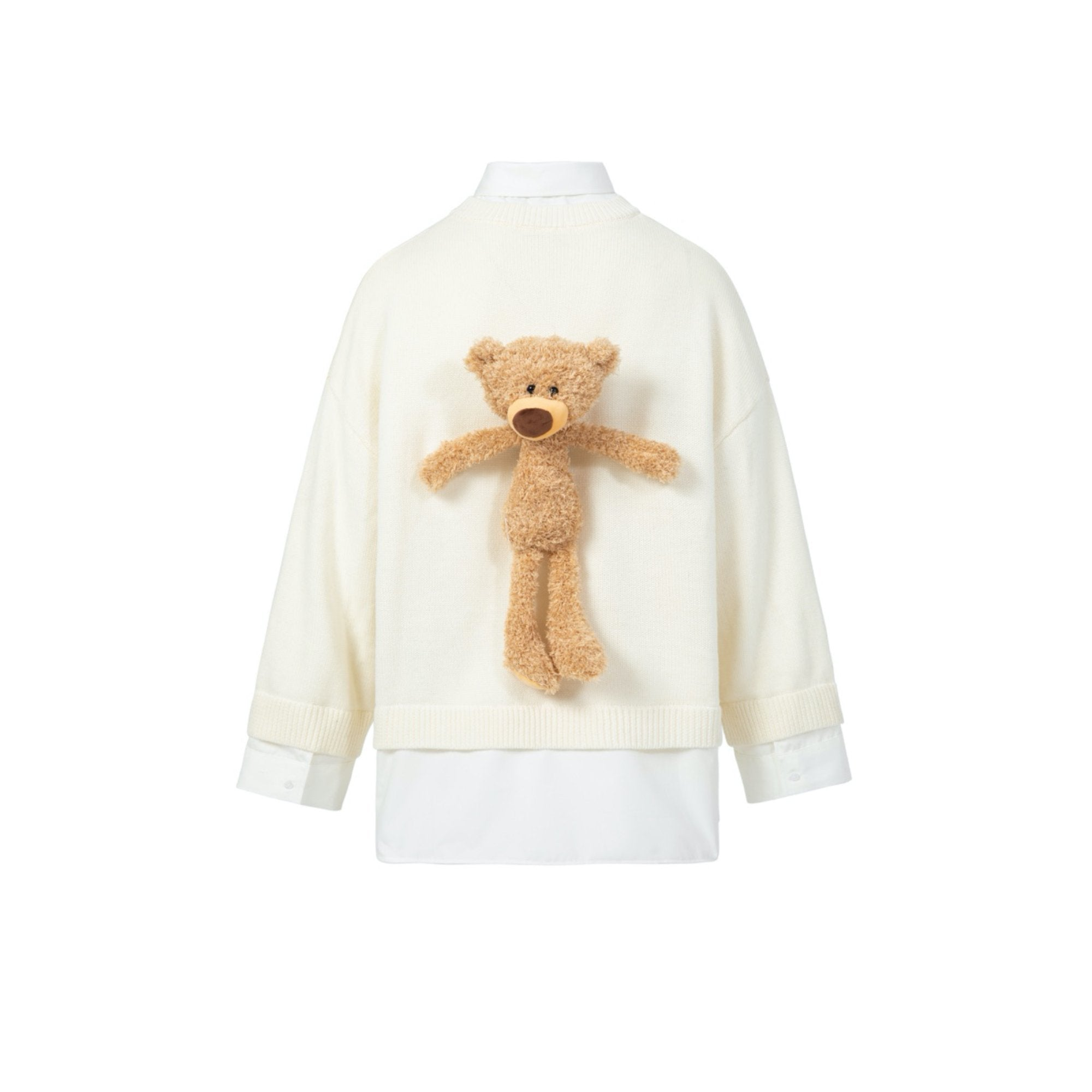 13 DE MARZO Daisy Teddy Bear Mock Two-Piece Sweater White | MADA IN CHINA