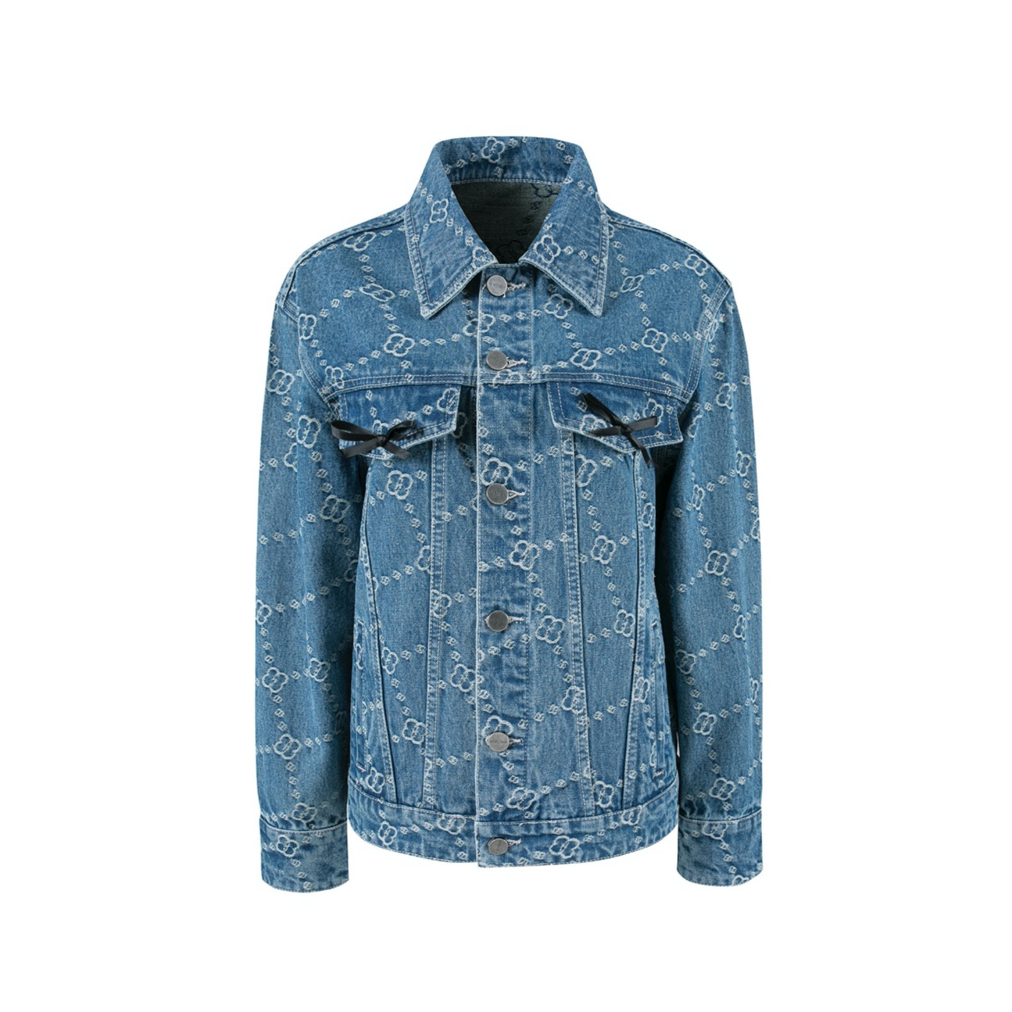 HERLIAN 'Dans La Fleur' Allover Logo Denim Jacket | MADA IN CHINA