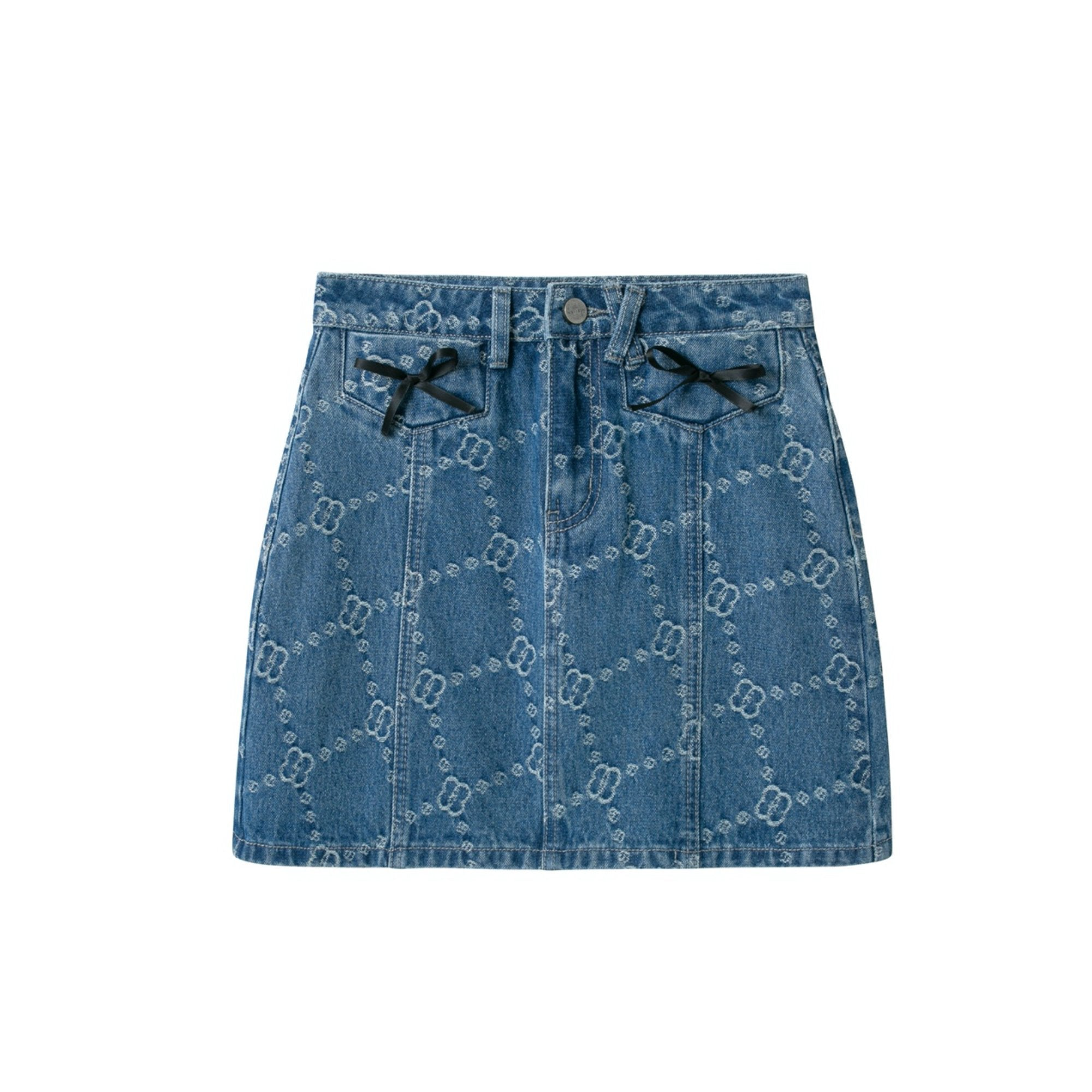 HERLIAN 'Dans La Fleur' Allover Logo Denim Skirts | MADA IN CHINA