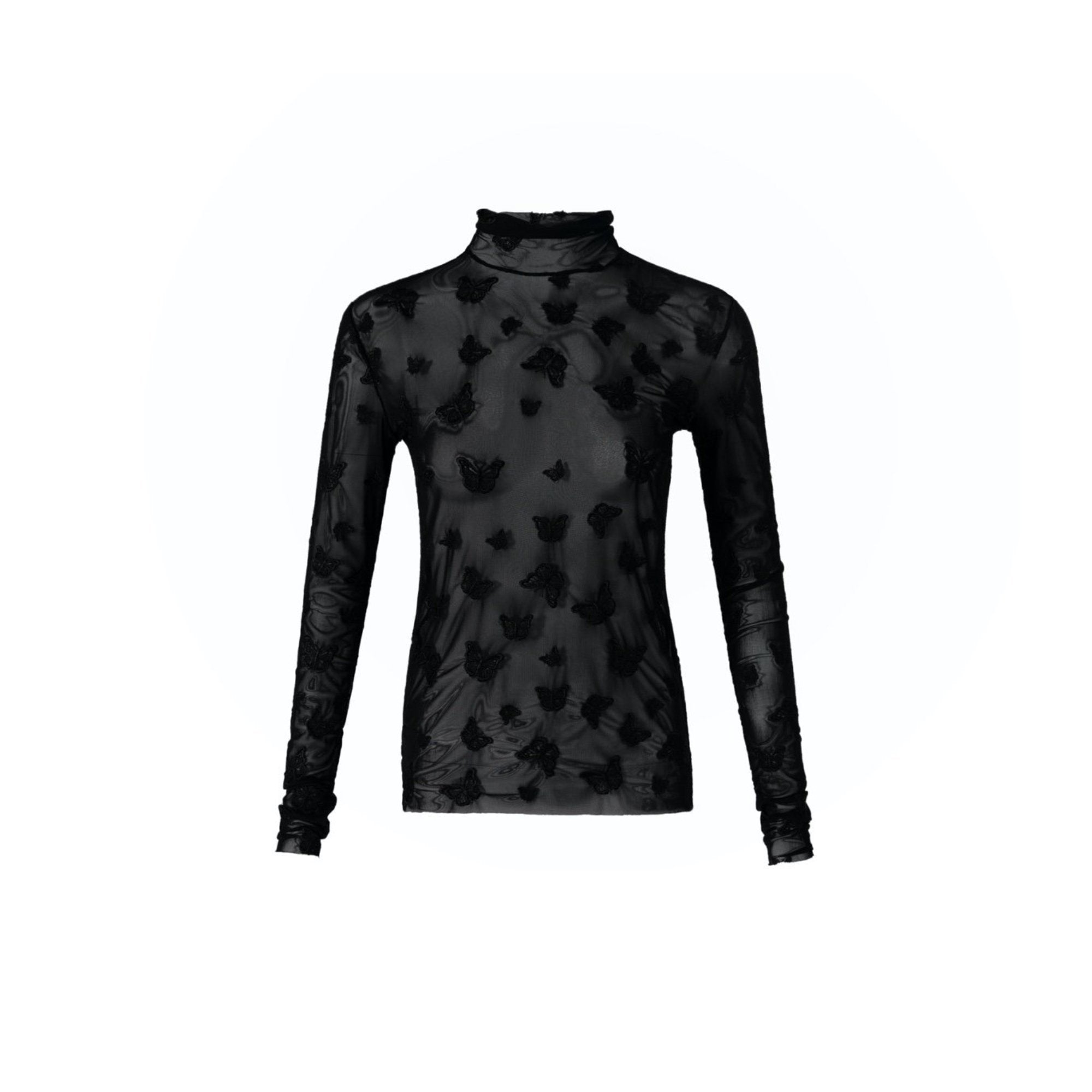 13 DE MARZO Dark Butterfly Embroidered Translucence Undershirt | MADA IN CHINA