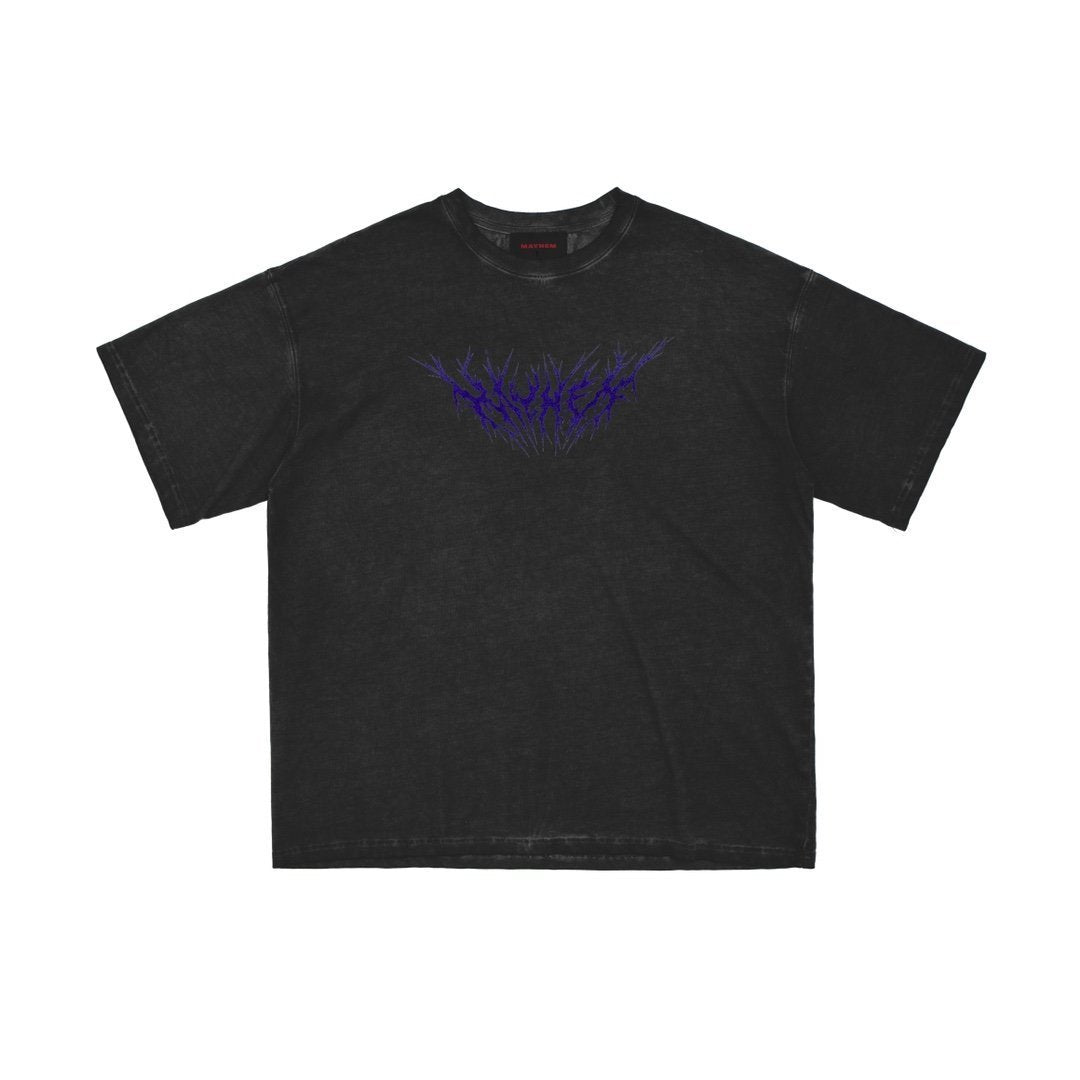 MAYHEM Dark Grey Lightning Logo Print Tee | MADA IN CHINA