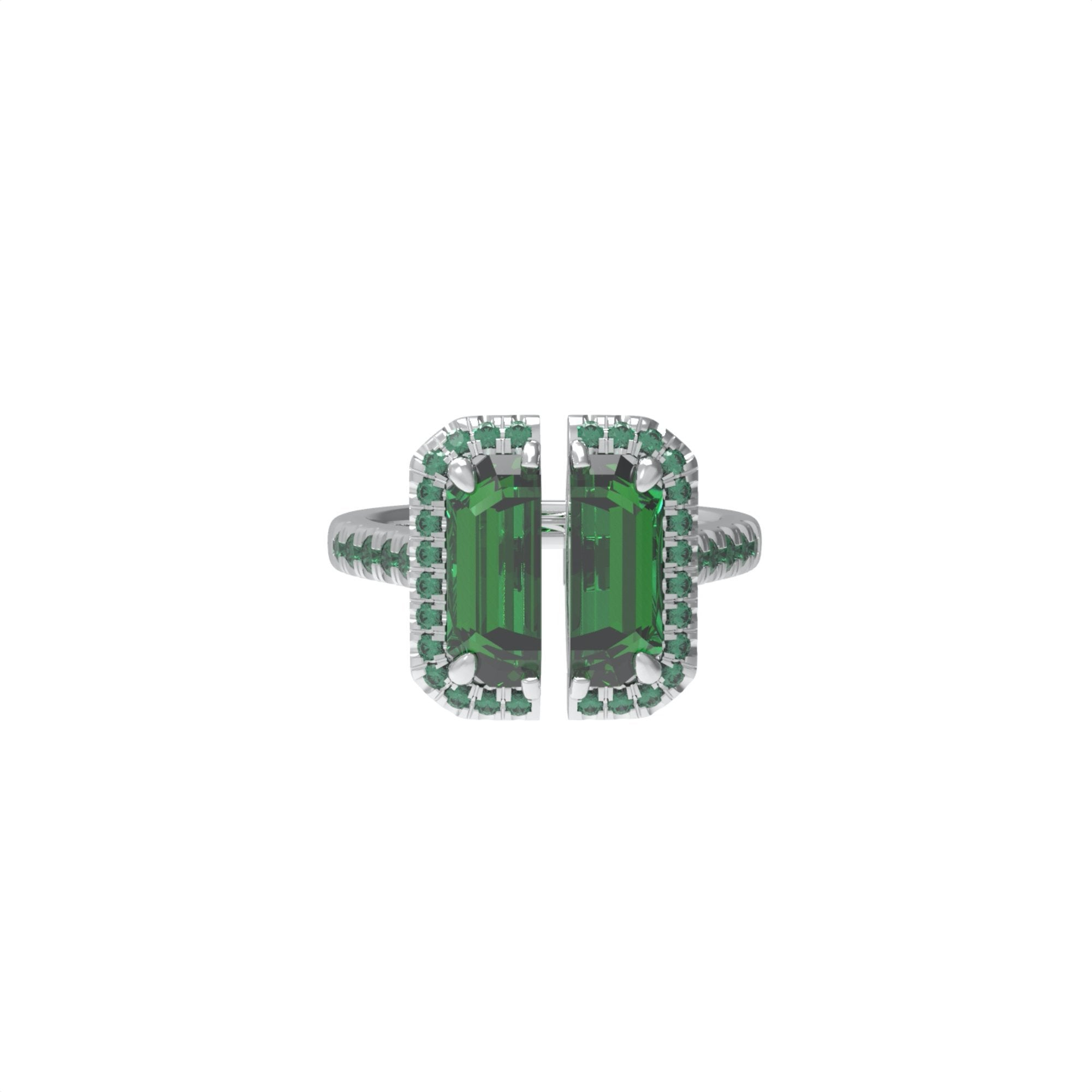 51 E JOHN Deconstruction Green Cropped Gem Ring | MADA IN CHINA