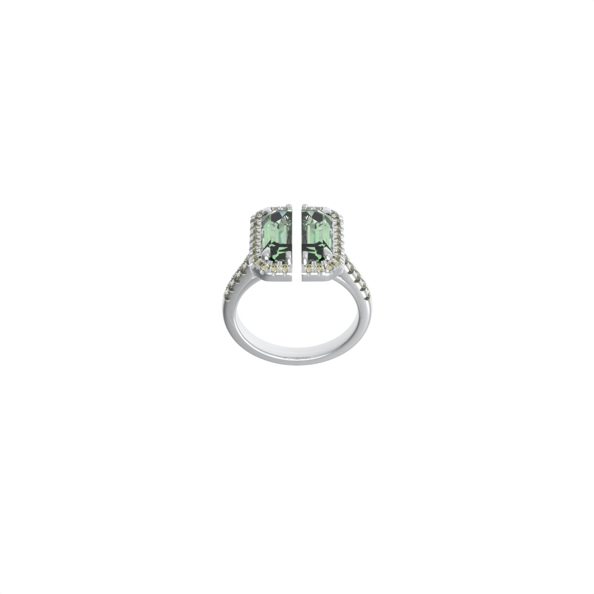 51 E JOHN Deconstruction Light Green Cropped Gem Ring | MADA IN CHINA