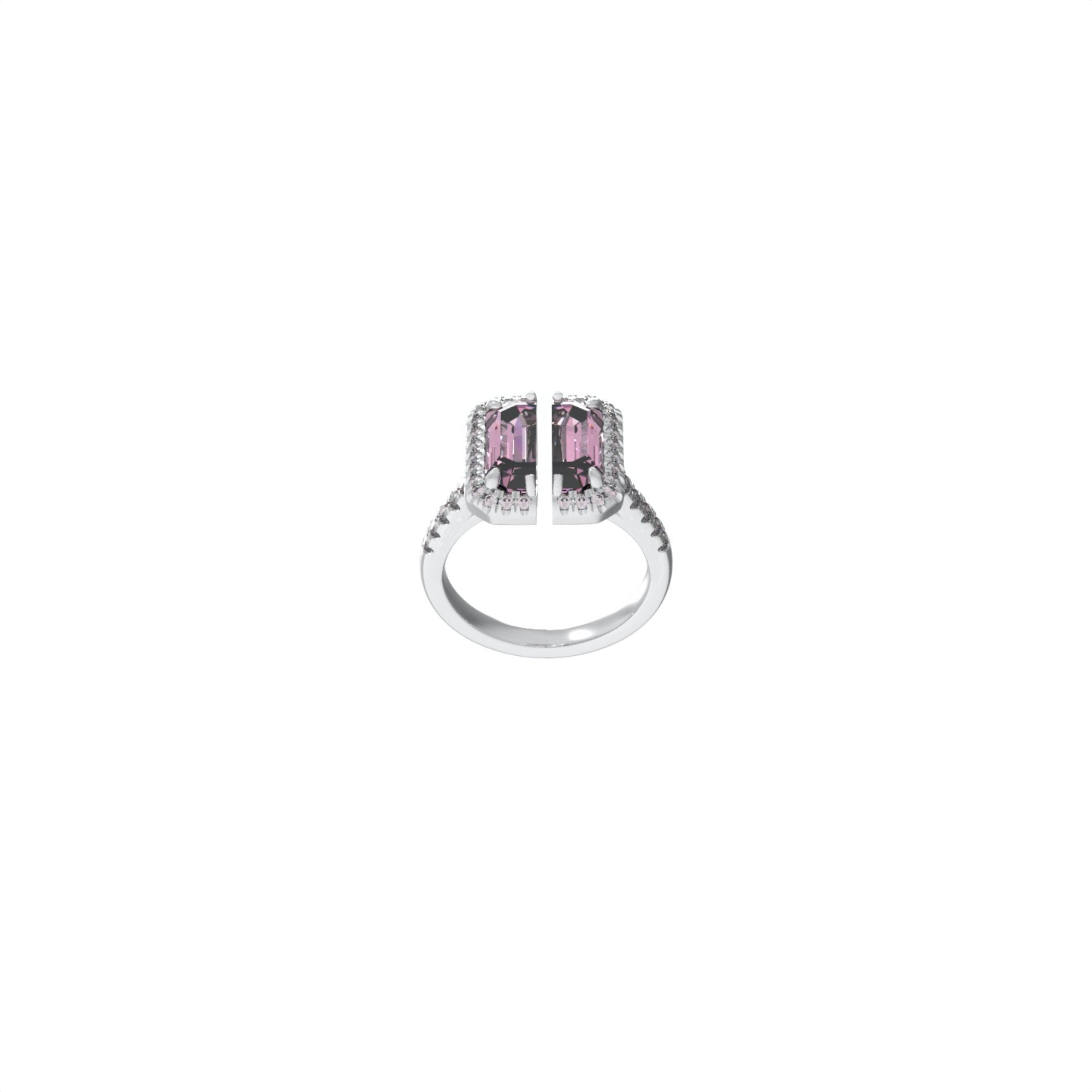 51 E JOHN Deconstruction Pink Cropped Gem Ring | MADA IN CHINA