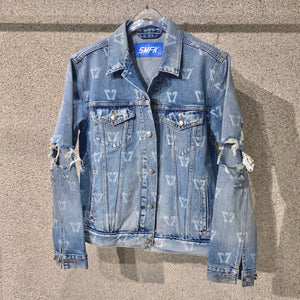 SMFK Deer Print Destroyed Denim Jacket Blue | MADA IN CHINA
